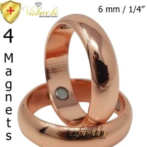 6 MM MAX THERAPY PURE SOLID COPPER RING MAGNETIC ARTHRITIS 7-15 MEN WOMEN CX2_2