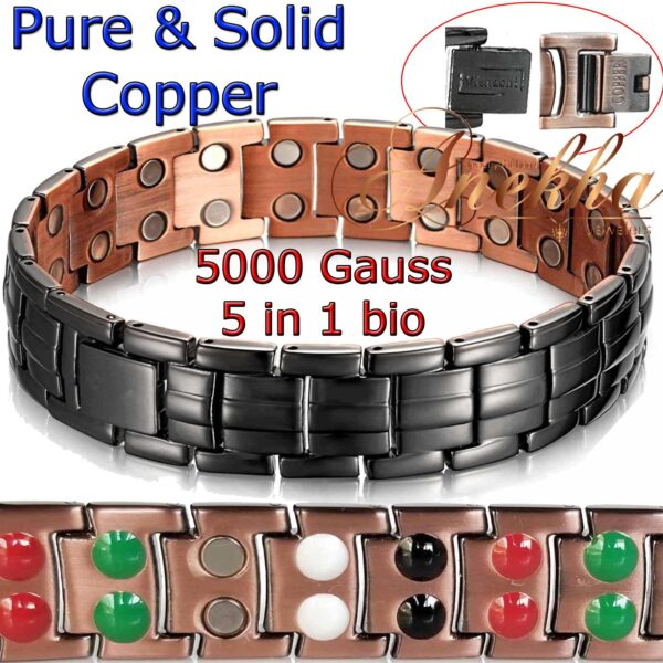 5In1 PURE SOLID COPPER BLACK MAGNETIC THERAPY BRACELET MEN ARTHRITIS PC03B