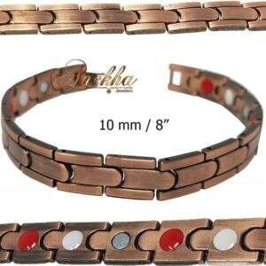 10mm COPPER MAGNETIC BRACELET ALLOY ARTHRITIS MEN WOMEN THERAPY PX08
