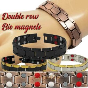 14mm COPPER MAGNETIC BRACELET ALLOY DOUBLE ROW BIO THERAPY MEN ARTHRITIS PX04