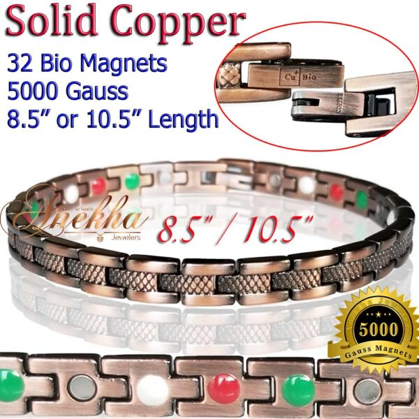 COPPER MAGNETIC BRACELET ANKLET MAX THERAPY PURE SOLID WOMEN ARTHRITIS PC10V