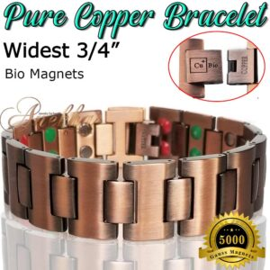 COPPER MAGNETIC BRACELET, Cu+Bio, PURE & SOLID THERAPY MEN HEAVY ARTHRITIS PC03W