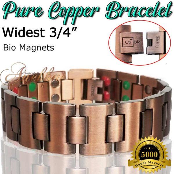 COPPER MAGNETIC BRACELET, Cu+Bio, PURE & SOLID THERAPY MEN HEAVY ARTHRITIS PC03W