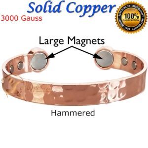 COPPER MAGNETIC BANGLE BRACELET SOLID & PURE, MEN WOMEN ARTHRITIS CB22A