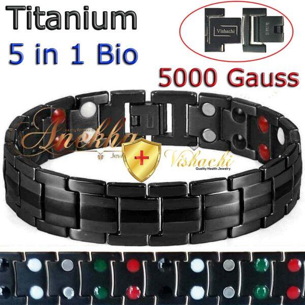 TITANIUM MAGNETIC BRACELET, SOLID, 5 IN 1 BIO THERAPY MEN 5000G, TB01BB
