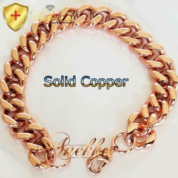 COPPER CHAIN BRACELET OR NECKLACE PURE & SOLID, 12 MEN CUBAN CURB LINK ARTHRITIS PC06