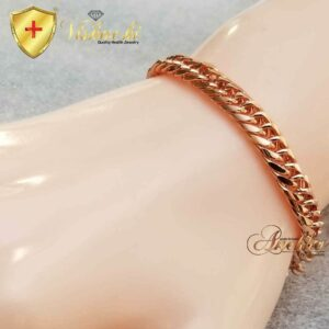 COPPER CHAIN BRACELET, PURE SOLID, 6 mm WOMEN DOUBLE LINK CURB CUBAN BRACELET ANKLET NECKLACE PC6D