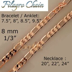 COPPER FILAGRO CHAIN PURE SOLID, CURB LINK CUBAN BRACELET/ANKLET WOMEN ARTHRITIS PC06B