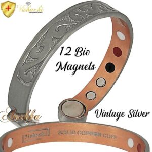 COPPER MAGNETIC BANGLE BRACELET PURE SOLID 12 BIO VTG SILVER, WOMEN ARTHRITIS CB86C