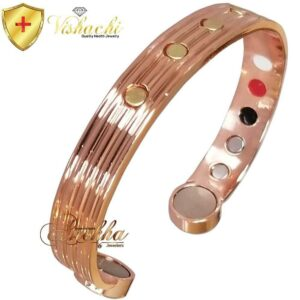 COPPER MAGNETIC BANGLE BRACELET PURE & SOLID, GOLD STUDDED MEN WOMEN CB69V