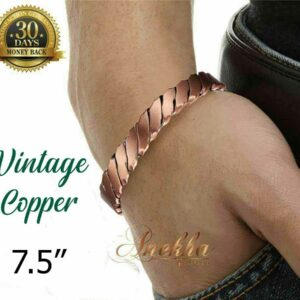 COPPER MAGNETIC BANGLE BRACELET PURE & SOLID, TWISTED MEN VTG ARTHRITIS CB23X