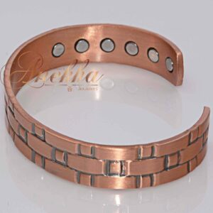 COPPER MAGNETIC BANGLE BRACELET, SOLID & PURE, 13 MM, +RING MEN VTG CB26