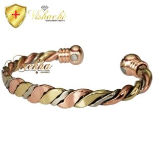 COPPER MAGNETIC BANGLE BRACELET, SOLID & PURE, 3 TONE ARTHRITIS MEN WOMEN CB52
