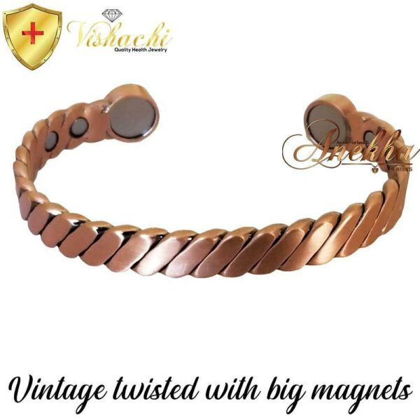 COPPER MAGNETIC BANGLE BRACELET, SOLID & PURE, BIG MAGNETS TWISTED MEN WOMEN CB86B