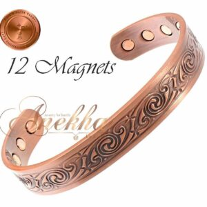 COPPER MAGNETIC BANGLE BRACELET, SOLID & PURE, CELTIC MEN WOMEN ARTHRITIS CB54