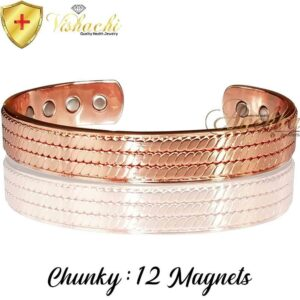 COPPER MAGNETIC BANGLE BRACELET, SOLID & PURE, CHUNKY BRAIDED ARTHRITIS CB52