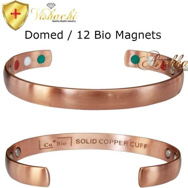 COPPER MAGNETIC BANGLE BRACELET SOLID & PURE, DOMED MAX THERAPY 12 BIO ARTHRITIS CB23V