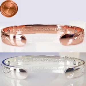 COPPER MAGNETIC BANGLE BRACELET, SOLID & PURE, FLORAL 12 MAGS ARTHRITIS CB25V