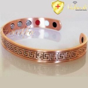 COPPER MAGNETIC BANGLE BRACELET, SOLID & PURE, GREEK KEY DESIGN MEN WOMEN CB28D