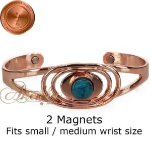 COPPER MAGNETIC BANGLE BRACELET, SOLID & PURE, TURQUOISE WOMEN CB22A