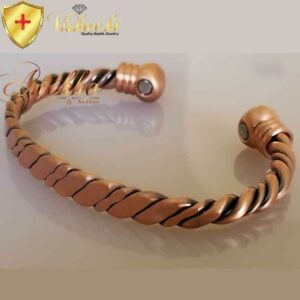 COPPER MAGNETIC BANGLE BRACELET, SOLID & PURE, TWISTED & HEAVY MEN ARTHRITIS CB86A
