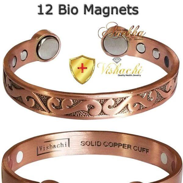 COPPER MAGNETIC BANGLE DESIGNER BRACELET PURE SOLID 12 BIO WOMEN ARTHRITIS CB86A