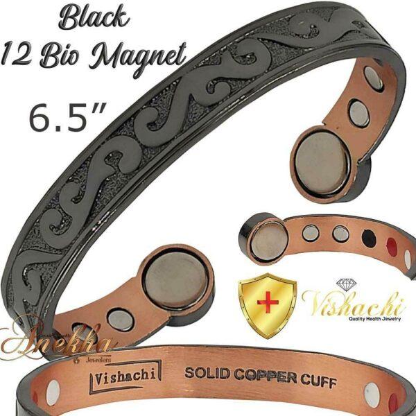 COPPER MAGNETIC BANGLE DESIGNER BRACELET PURE SOLID 12 BIO WOMEN ARTHRITIS CB86B