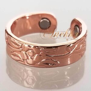 FLORAL COPPER MAGNETIC RING, SHINY 2 MAGS SIZE 7 ADJUSTABLE THERAPY CX06