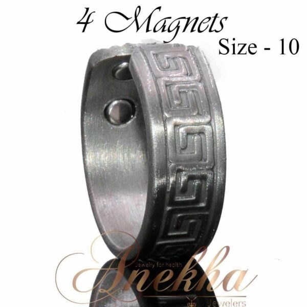 GREEK SILVER COPPER RING, VINTAGE SILVER MAGNETIC WIDE 4 MAGS SIZE 8-11 ARTHRITIS CX20