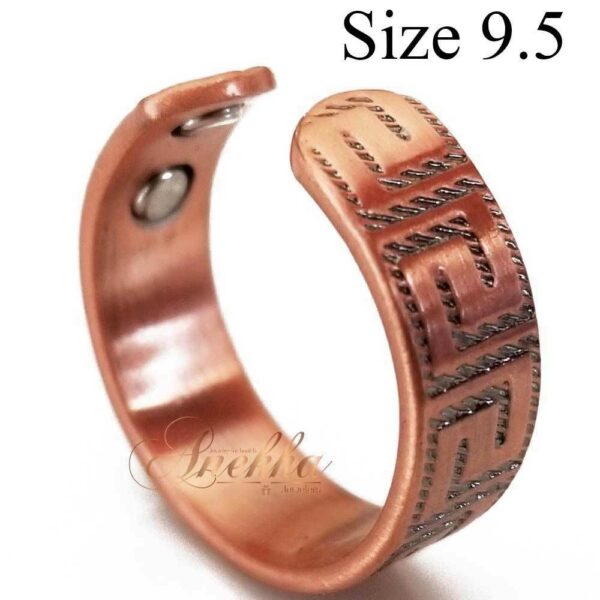 GREEK2 VINTAGE COPPER RING, MAGNETIC WIDE 4 MAGS SIZE 7-10 ARTHRITIS CX19