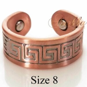 GREEK VINTAGE COPPER RING, MAGNETIC WIDE 4 MAGS SIZE 7-10 ARTHRITIS CX18