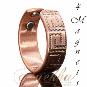 GREEK2 VINTAGE COPPER RING, MAGNETIC WIDE 4 MAGS SIZE 8-11 ARTHRITIS CX19