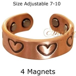 HEART COPPER MAGNETIC RING, VINTAGE 4 MAGS SIZE 7-10 ARTHRITIS CX25