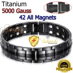 TITANIUM MAGNETIC BRACELET, SOLID, ALL MAGNETS THERAPY MEN 5000G TB01AM