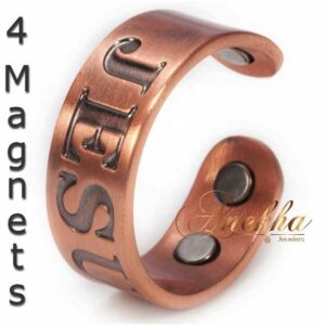 JESUS COPPER MAGNETIC RING, VTG 4 MAGS SIZE 9-12 ADJUSTABLE THERAPY CX09