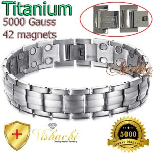 TITANIUM MAGNETIC BRACELET SILVER ARTHRITIS 5 IN 1 BIO MEN GOLD & SILVER TB01SS