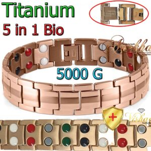 TITANIUM MAGNETIC BRACELET ROSE GOLD ARTHRITIS 5 IN 1 BIO MEN TB01RG
