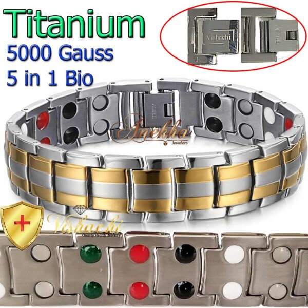 GOLD & SILVER TITANIUM MAGNETIC BRACELET, SOLID, 5 IN 1 BIO THERAPY MEN 5000G, TB01GS