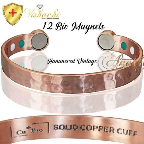 PURE & SOLID COPPER MAGNETIC BANGLE BRACELET VTG HAMMERED MEN WOMEN CB52V