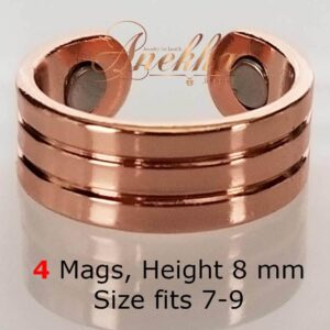ROMAN6 COPPER MAGNETIC RING, SHINY 4 MAGS SIZE 7-10 ARTHRITIS MEN CX30
