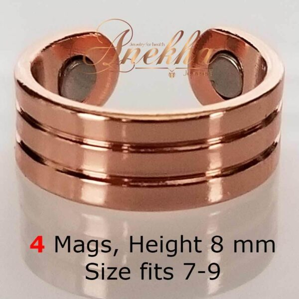 ROMAN6 COPPER MAGNETIC RING, SHINY 4 MAGS SIZE 7-10 ARTHRITIS MEN CX30