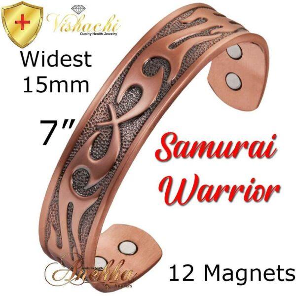 SAMURAI COPPER MAGNETIC BANGLE BRACELET, SOLID & PURE, VTG ARTRHITIS CB68