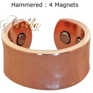 SHINY HAMMERED MAGNETIC RING, VINTAGE 4 MAGS SIZE 6-10 ARTHRITIS MEN CX29