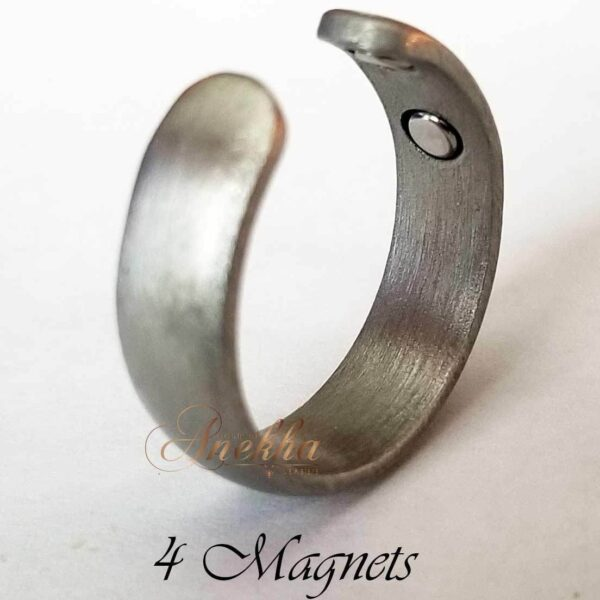 SILVER COPPER MAGNETIC RING, VTG SILVER 4 MAGS SIZE 6-8 ARTHRITIS CX14