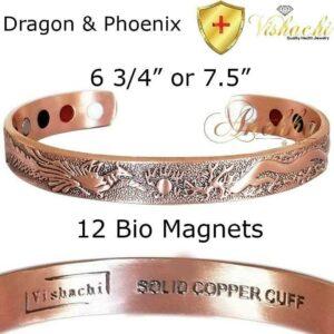 SOLID & PURE COPPER MAGNETIC BANGLE BRACELET PHOENIX DRAGON MEN WOMEN L-XL CB35V