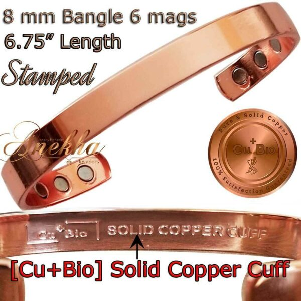 SOLID PURE COPPER MAGNETIC BANGLE BRACELET WOMEN ARTHRITIS STAMPED CB60X