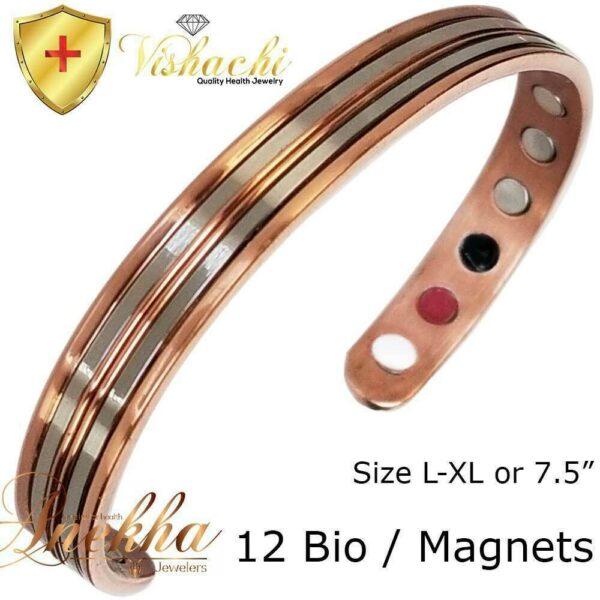 SOLID & PURE COPPER MAGNETIC STAMPED BANGLE BRACELET MEN WOMEN ARTHRITIS CB60
