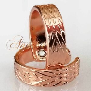 SUN COPPER MAGNETIC RING, SHINY DIAMOND CUT SIZE 6-8 ARTHRITIS CX22