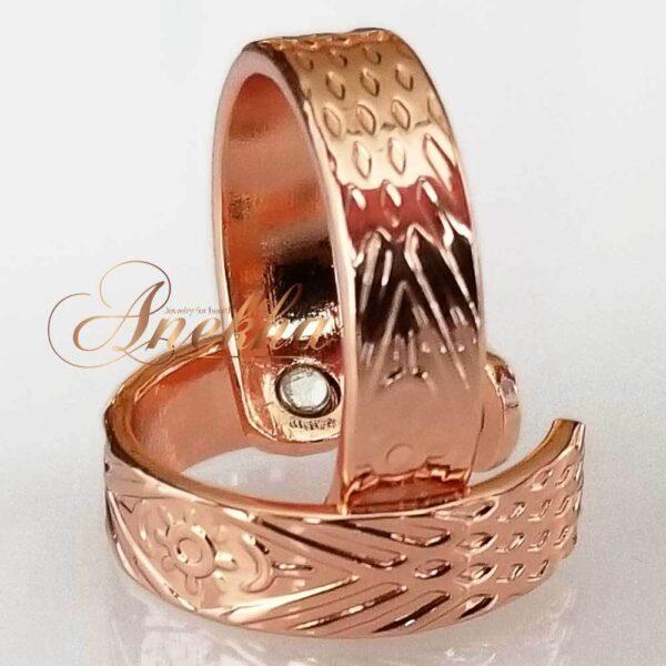 SUN COPPER MAGNETIC RING, SHINY DIAMOND CUT SIZE 6-8 ARTHRITIS CX22