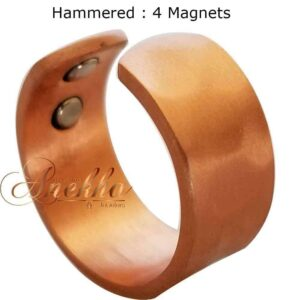 VINTAGE HAMMERED COPPER MAGNETIC RING, 4 MAGS SIZE 7-10 ARTHRITIS CX32